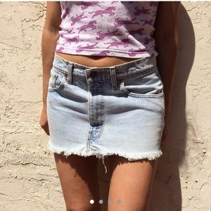 Vintage 550 Levi's Distressed Fringed Mini Skirt
